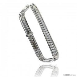 Sterling Silver Square Shape Flat 7 Band Stackable slip on Semanario Bangle 5/16 in wide, 6.5 in