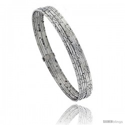 Sterling Silver Textured Finish Flat 7 Band Stackable slip on Semanario Bangle 5/16 in wide, 7.5 in