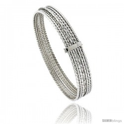 Sterling Silver Twisted-Wire Flat 7 Band Stackable slip on Semanario Bangle 5/16 in wide, 7 in