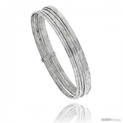 Sterling Silver Textured-Wire Flat 7 Band Stackable slip on Semanario Bangle 5/16 in wide, 7 in