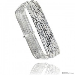 Sterling Silver Hammered Finish Square 7 Band Semanario slip on Baby Bangle 7/16 in wide, 6 in