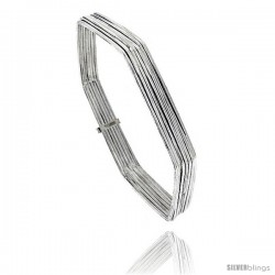 Sterling Silver Hexagon Shape Flat 7 Band Stackable slip on Semanario Bangle 5/16 in wide, 9 in