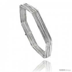 Sterling Silver Hexagon Shape Flat 7 Band Stackable slip on Semanario Bangle 5/16 in wide, 8 in