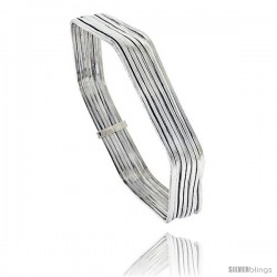 Sterling Silver Hexagon Shape Flat 7 Band Stackable slip on Semanario Bangle 5/16 in wide, 7 1/4 in