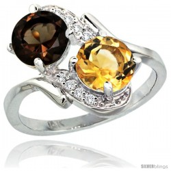 14k White Gold ( 7 mm ) Double Stone Engagement Smoky Topaz & Citrine Ring w/ 0.05 Carat Brilliant Cut Diamonds & 2.34 Carats