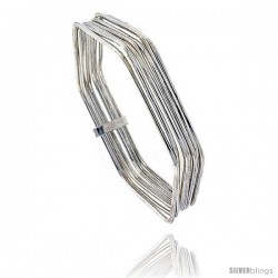 Sterling Silver Hexagon Shape Flat 7 Band Stackable slip on Semanario Bangle 5/16 in wide, 6 3/4 in