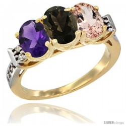 10K Yellow Gold Natural Amethyst, Smoky Topaz & Morganite Ring 3-Stone Oval 7x5 mm Diamond Accent