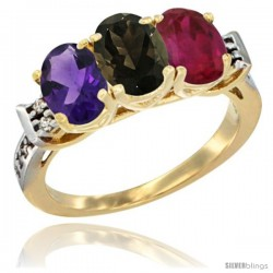 10K Yellow Gold Natural Amethyst, Smoky Topaz & Ruby Ring 3-Stone Oval 7x5 mm Diamond Accent