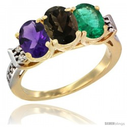 10K Yellow Gold Natural Amethyst, Smoky Topaz & Emerald Ring 3-Stone Oval 7x5 mm Diamond Accent