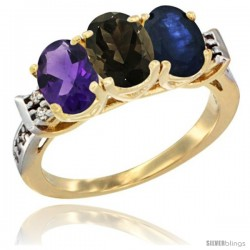 10K Yellow Gold Natural Amethyst, Smoky Topaz & Blue Sapphire Ring 3-Stone Oval 7x5 mm Diamond Accent