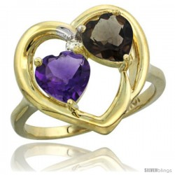 10k Yellow Gold 2-Stone Heart Ring 6mm Natural Amethyst & Smoky Topaz