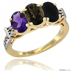 10K Yellow Gold Natural Amethyst, Smoky Topaz & Black Onyx Ring 3-Stone Oval 7x5 mm Diamond Accent