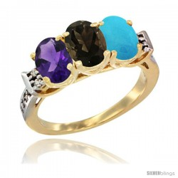 10K Yellow Gold Natural Amethyst, Smoky Topaz & Turquoise Ring 3-Stone Oval 7x5 mm Diamond Accent