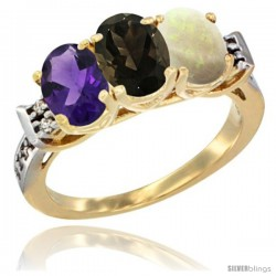 10K Yellow Gold Natural Amethyst, Smoky Topaz & Opal Ring 3-Stone Oval 7x5 mm Diamond Accent