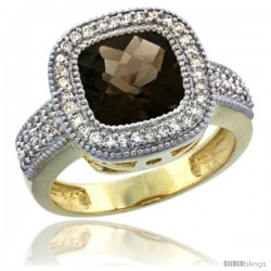 14K Yellow Gold Natural Smoky Topaz Ring Cushion-cut 9x9 Stone Diamond Accent