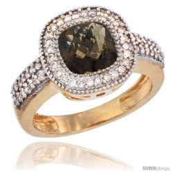 14k Yellow Gold Ladies Natural Smoky Topaz Ring Cushion-cut 3.5 ct. 7x7 Stone Diamond Accent