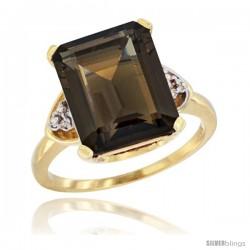 14k Yellow Gold Ladies Natural Smoky Topaz Ring Emerald-shape 12x10 Stone Diamond Accent