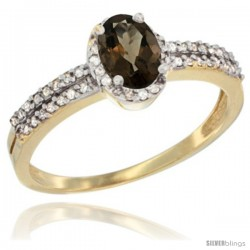 14k Yellow Gold Ladies Natural Smoky Topaz Ring oval 6x4 Stone Diamond Accent -Style Cy407178