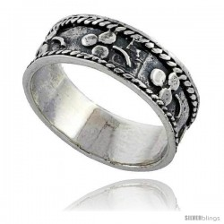 Sterling Silver Rope Edge Design Beaded Wedding Band Ring 1/4 in wide