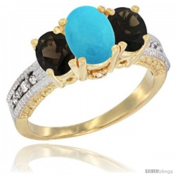 14k Yellow Gold Ladies Oval Natural Turquoise 3-Stone Ring with Smoky Topaz Sides Diamond Accent