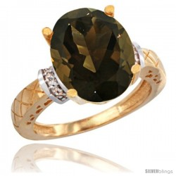 14k Yellow Gold Diamond Smoky Topaz Ring 5.5 ct Oval 14x10 Stone