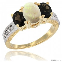 14k Yellow Gold Ladies Oval Natural Opal 3-Stone Ring with Smoky Topaz Sides Diamond Accent