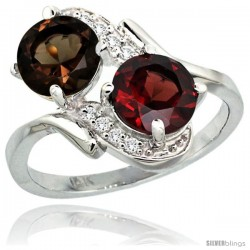 14k White Gold ( 7 mm ) Double Stone Engagement Smoky Topaz & Garnet Ring w/ 0.05 Carat Brilliant Cut Diamonds & 2.34 Carats