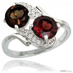 14k White Gold ( 7 mm ) Double Stone Engagement Smoky Topaz & Garnet Ring w/ 0.05 Carat Brilliant Cut Diamonds & 2.34 Carats