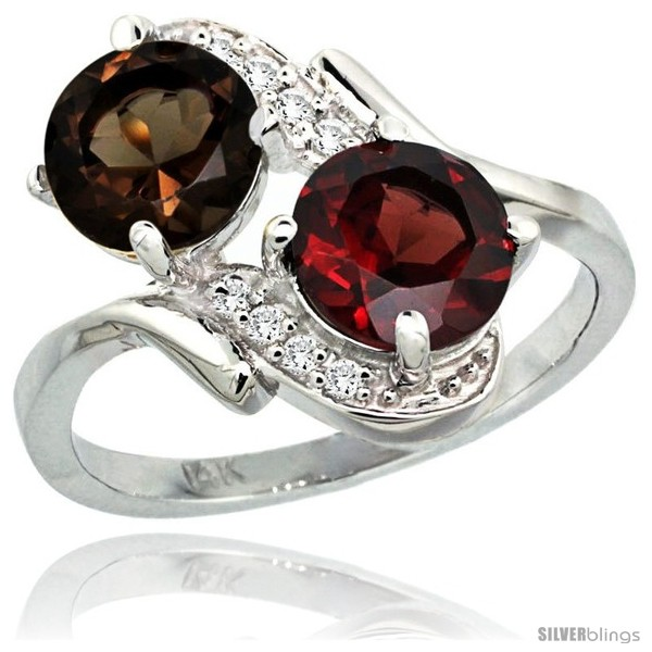 https://www.silverblings.com/3879-thickbox_default/14k-white-gold-7-mm-double-stone-engagement-smoky-topaz-garnet-ring-w-0-05-carat-brilliant-cut-diamonds-2-34-carats.jpg