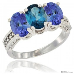 10K White Gold Natural London Blue Topaz & Tanzanite Sides Ring 3-Stone Oval 7x5 mm Diamond Accent