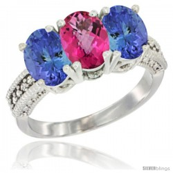 10K White Gold Natural Pink Topaz & Tanzanite Sides Ring 3-Stone Oval 7x5 mm Diamond Accent