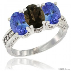 10K White Gold Natural Smoky Topaz & Tanzanite Sides Ring 3-Stone Oval 7x5 mm Diamond Accent