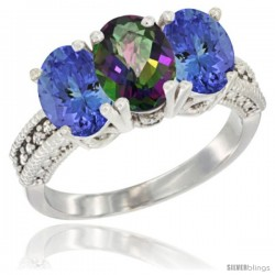 10K White Gold Natural Mystic Topaz & Tanzanite Sides Ring 3-Stone Oval 7x5 mm Diamond Accent