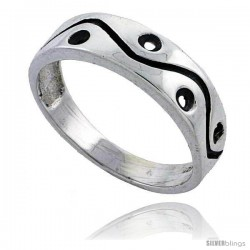 Sterling Silver Holes & Waves Wedding Band Ring 1/4 in wide