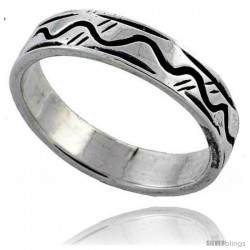 Sterling Silver Wave Wedding Band Ring 3/16 in wide