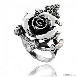 Sterling Silver Large Rose Flower Ring