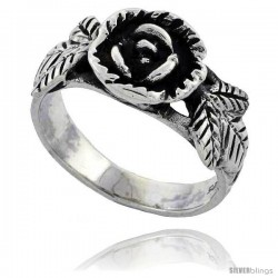 Sterling Silver Rose Flower Ring 3/8 wide
