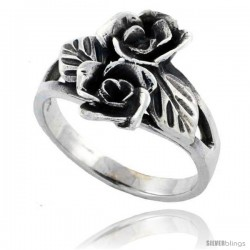 Sterling Silver Double Rose Flower Ring 5/8 in wide