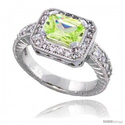 """Sterling Silver Vintage Style Engagement ring, w/ an 8 x 6 mm (1.5 ct) Emerald Cut Light Peridot-colored CZ Stone, 7/16"""""""