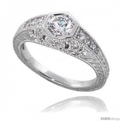 "Sterling Silver Vintage Style Engagement ring, w/ a 4mm (.25 ct) Round CZ Stone, 5/16"" (8 mm) wide"
