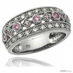 Sterling Silver Vintage Style Ring Band w/ Brilliant Cut Clear & Pink Sapphire Color CZ Stones, 5/16 in. (8 mm) wide