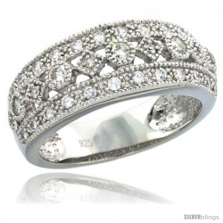 Sterling Silver Vintage Style Ring Band w/ Brilliant Cut CZ Stones, 5/16 in. (8 mm) wide