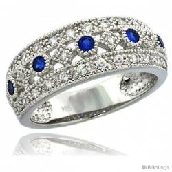 Sterling Silver Vintage Style Ring Band w/ Brilliant Cut Clear & Blue Sapphire Color CZ Stones, 5/16 in. (8 mm) wide