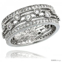 Sterling Silver Vintage Style Ring Band w/ Brilliant Cut CZ Stones, 5/16 in. (8 mm) wide -Style Lr00075a