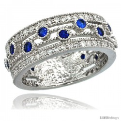 Sterling Silver Vintage Style Ring Band w/ Brilliant Cut Clear & Blue Sapphire Color CZ Stones, 5/16 in. (8 -Style Lr00075b