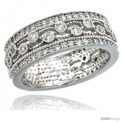 Sterling Silver Vintage Style Swirl Cut Outs Ring Band w/ Brilliant Cut CZ Stones, 9/32 in. (7.5 mm) wide