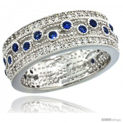 Sterling Silver Vintage Style Swirl Cut Outs Ring Band w/ Brilliant Cut Clear & Blue Sapphire Color CZ Stones, 9/32 in. (7.5
