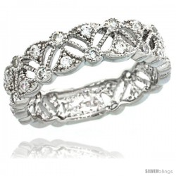 Sterling Silver Vintage Style Ring Band w/ Brilliant Cut CZ Stones, 1/4 in. (6 mm) wide