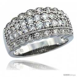 Sterling Silver Vintage Style Curvy Edge Dome Ring Band w/ Brilliant Cut CZ Stones, 3/8 in. (10 mm) wide