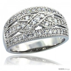 Sterling Silver Vintage Style Ribbon Knot Dome Ring Band w/ Brilliant Cut CZ Stones, 7/16 in. (11 mm) wide